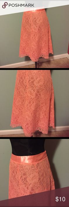 "Cato orange/peach lace skirt size 12 Cato orange/peach lace skirt size 12. 25"" long, 17"" waist. Cato Skirts"