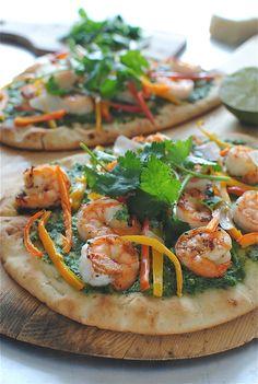 Shrimp Naan Pizzas with Thai Coconut Arugula Pesto / Bev Cooks
