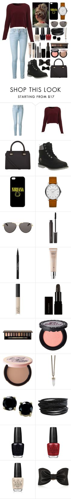 """""""Strong..."""" by directioner1608 ❤ liked on Polyvore featuring Frame Denim, Victoria Beckham, Timberland, Marc by Marc Jacobs, The Row, Laura Mercier, Trish McEvoy, NARS Cosmetics, Clarins and Too Faced Cosmetics"""