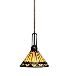 Mission Style Mini Pendant Light With Metal Framed Shade