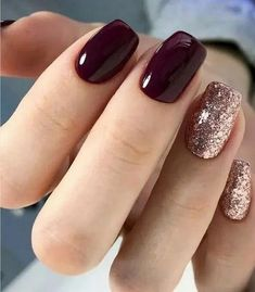 56 Glitter Gel Nail Designs For Short Nails For Spring 2019 Nailart Nageldesign Short Nail Designs, Fall Nail Designs, Nail Color Designs, Glitter Nail Designs, Burgundy Nail Designs, Gel Manicure Designs, Square Nail Designs, Manicure Colors, Gel Designs
