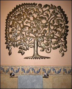 Tree of Life Metal Wall Hanging, Outdoor Metal Art, Steel Drum Wall Decor - x Outdoor Metal Wall Art, Metal Tree Wall Art, Metal Artwork, Metal Wall Decor, Hanging Wall Art, Tree Artwork, Altar, Drums Art, Tree Of Life Art