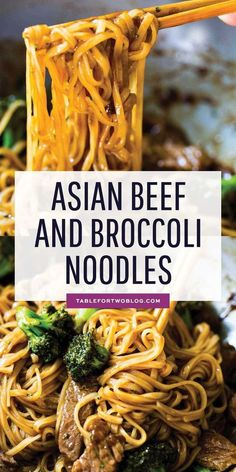 Asian Beef and Broccoli Noodles - Beef and Broccoli Recipe Idea A take on the classic Chinese takeout dish but in a rice noodle dish! Super easy to make on a busy weeknight! This Asian beef and broccoli noodle dish is going to be your new favorite! Asian Noodle Recipes, Chinese Chicken Recipes, Easy Chinese Recipes, Healthy Noodle Recipes, Healthy Ramen, Asian Dinner Recipes, Broccoli Beef, Broccoli Recipes, Beef Recipes
