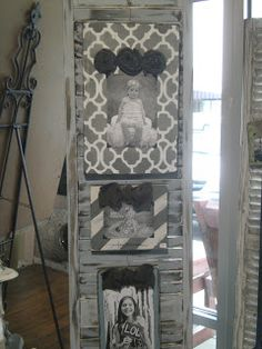 Shutters are used to display photos. The French Flea Photo Displays, Display Photos, Display Ideas, Home Crafts, Fun Crafts, Craft Projects, House Projects, Craft Ideas, Decorating Ideas