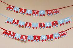 Train Birthday Party Banner