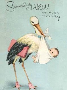New Baby Cards Stork Ideas Love Vintage, Images Vintage, Vintage Pictures, Vintage Prints, Vintage Theme, Baby Images, Baby Pictures, Vintage Greeting Cards, Vintage Postcards