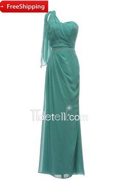 Tidetell.com Elegant Sheath One shoulder Floor Length Chiffon Bridesmaid Dress
