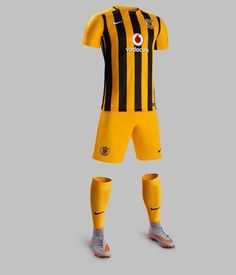 The new Nike Kaizer Chiefs Jersey boasts honors the anniversary with black and golden stripes. The new Kaizer Chiefs Away Kit features a smart design. World Football, Football Kits, Football Jerseys, Cycling Wear, Cycling Jerseys, Kaizer Chiefs, Best Jersey, Soccer Skills, Team Wear