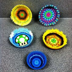 Melted perler bead bowls by MichelleAlwaysWorks