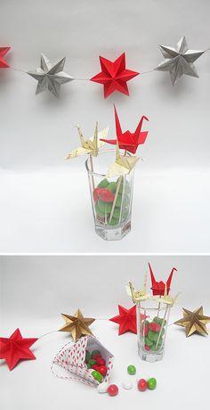 origami - Navidad - guirnaldas de Dominanta stars