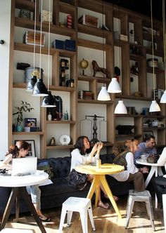 Shelving Idea | Lighting | Coffee shop | Williamsburg | NY