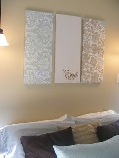 Diy wall art: one inch thick Styrofoam insulation wrapped in fabric