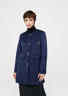 Seams faux-suede coat   MANGO