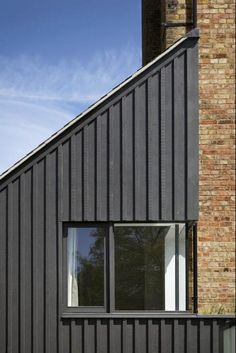 rear + side extension - Warnborough Road, Oxford - Project Orange Wooden Cladding Exterior, House Cladding, Wood Facade, Stone Cladding, Timber Cladding, Cladding Ideas, Facade Design, House Design, Black Cladding