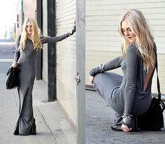 Helmut Lang • Slack Keyhole-Back Jersey Maxi Dress | size small in grey $295