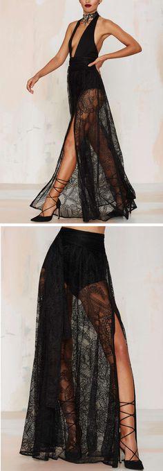 Daring sheer lace maxi skirt