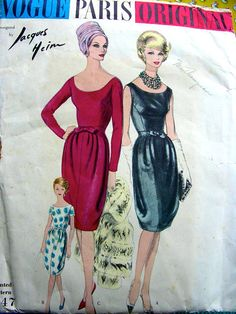 UNCUT Jacques Heim Vogue Paris Original Sewing Pattern 1047 - Cocktail Dress with Draped barrel Skirt - UNCUT - Size 16