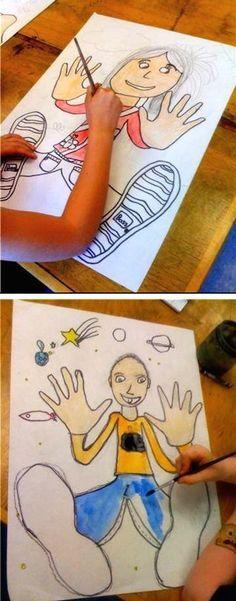 Traza las manos y los pies, y luego dibujar el resto!  - 29 de los más oficios y actividades creativas para los niños!