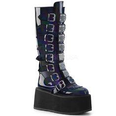 Demonia Damned-318 Black Hologram Vegan #gothicshoes #gothshoes #studdedshoes #punkshoes #punkrockshoes #alteranativeshoes #altshoes