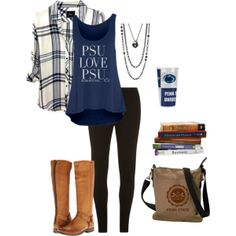 Penn State Nittany Lions - casual outfit on our Polyvore page College Casual, School Outfits For College, Summer School Outfits, College Fashion, Outfits For Teens, Casual Outfits, Cute Outfits, College Goals, College Fun