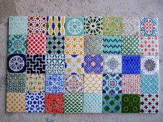 Handpainted Morrocan Tile Splashback  - Set of 40 mixed bohemian designs