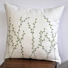 """Pussy Willow Throw  Pillow Cover- 18"""" x 18"""" Decorative Pillow Cover - Cream Linen with  Fresh Green Floral Embroidery. $22.00, via Etsy."""