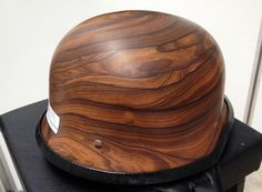 custom wood grain image on german motorcycle helmet