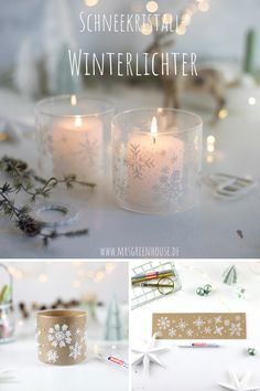 Winter Table, Winter Diy, Diy Greenhouse, Diy Weihnachten, Candle Jars, Crafty, Table Decorations, Diy Jars, Blog