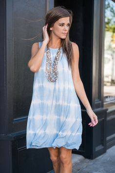 Sun And Fun Dress, Light Blue || This dress will fun to wear regardless of where you wear it but we have to agree that wearing in the sun will be much more fun! The sky blue and white tie dye is so light and just as soft and the fabric! We are loving this print for this casually fitting dress!