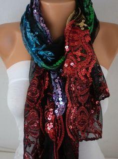 Black Tulle Colorful Sequin ScarfWedding ShawlLace