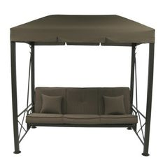 3 Person Steel Patio Swing with Gazebo Top Cover - Brown  sc 1 st  Pinterest & I love the side tables on this patio swing! Iu0027ve never seen them ...