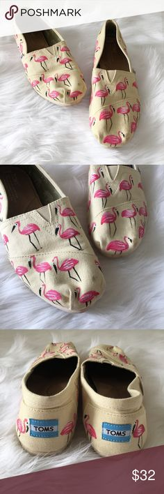 TOMS Hand Painted Flamingo Shoes TOMS Haiti artist collective natural flamingo canvas classics. There is a small spot on the toe of one shoe which is pictured in the last photo. Otherwise in very good condition.   ⭐️10% off 2+ bundle  ⭐️Size 9.5 ⭐️Smoke free home  ⭐️No stains or flaws Shoes Flats & Loafers