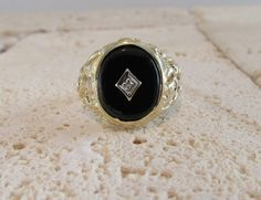 Black Onyx and Diamond Ring, Black Onyx Ring, Yellow Gold Black Onyx Ring, Vintage Black Onyx Ring, Vintage Black Onyx and Diamond Ring by DorothyGallunJewelry on Etsy Black Onyx Ring, Black Rings, Yellow Gold Rings, White Gold Diamonds, Diamond Shapes, Diamond Cuts, Magic Ring, Best Engagement Rings, Expensive Jewelry