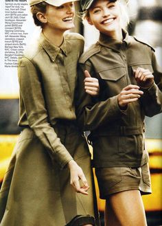 Vogue magazine military trend page - both models outfits include the army green, hats, as well as both are wearing commonly seen military style shirts that include collars, buttons, front pockets and also should straps.
