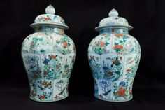 LA-6095  24.5''H Pair covered Chinese porcelain Famille Verte balister shaped temple jars.  Republic Period