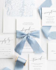 Calligraphy Wedding Invitations with Blue Silk Ribbon