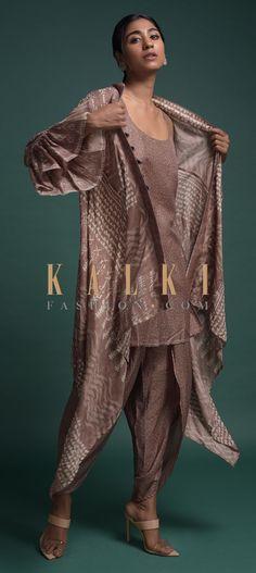 Dusty Mauve Dhoti Suit In Silk Blend With Matching Tribal Printed Jacket Online - Kalki Fashion Anarkali, Lehenga, Salwar Kameez, Kurti, Tribal Prints, Jackets Online, Indian Wear, Mauve, Hemline