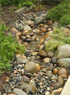 Super Landscaping With Rocks On A Hill Dry Creek Ideas Garden Stream, Stream Bed, Rain Garden, Lawn And Garden, Water Garden, Garden Paths, Garden Beds, Backyard Stream, Rocks Garden