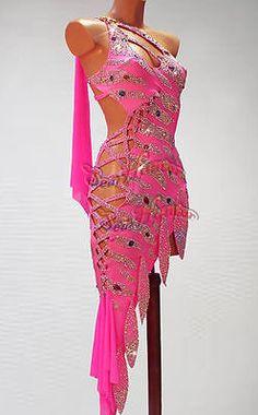 Women Ballroom Latin Rhythm Rumba Salsa Dance Dress US 6 UK 8 Sliver Pink Fringe
