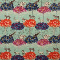 turquoise echino canvas safari animals fabric acacia 2
