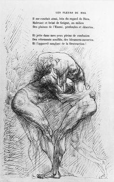 Auguste Rodin, illustration pour  i les Fleurs du mal /i  de Baudelaire Illustration d Auguste Rodin pour une édition de 1918 des  i Fleurs du mal /i  de Charles Baudelaire.