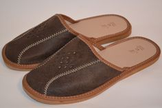 Mens Genuine Leather Slippers Dark Brown Footwear