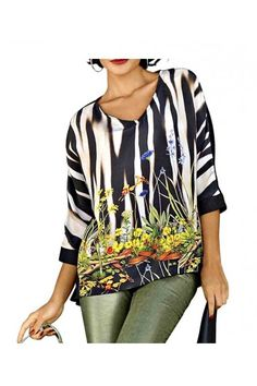 Saténové triko s potiskem, halenka ALBA MODA Alba Moda, Kimono Top, Tops, Women, Fashion, Moda, Fashion Styles, Fashion Illustrations, Woman