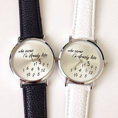 U-beauty Unisex Men Women Lady Girls i'm already late Leather Strap Watches Quartz Wristwatch (Black)