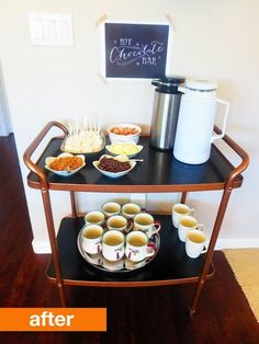An old 60's brass bar cart turned into this updated hot chocolate bar.... Genious! Before & After: Brass to Bold Bar Cart