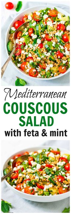Mediterranean Couscous Salad with Feta and Mint — A quick and easy meal that's fresh and flavor packed! Loaded with crisp veggies, creamy feta, and the BEST  lemon dressing. Recipe at wellplated.com @Well Plated Pearl Couscous Salad, Mediterranean Couscous Salad, Israeli Couscous Salad, Couscous Salad Recipes, Couscous Salat, Mediterranean Diet Recipes, Pearl Couscous Recipes, Healthy Diet Recipes, Vegetarian Recipes