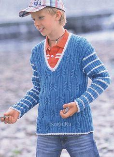 Детский пуловер с узором из кос и резинки