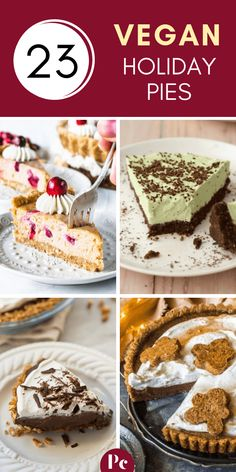 Vegan Holiday Pies for Christmas and Thanksgiving - Whether you're looking for traditional desserts like apple and pumpkin pie or exciting ones like ginger and mint, this list is for you! Vegan Christmas Desserts, Vegan Christmas Dinner, Christmas Deserts, Holiday Pies, Holiday Recipes, Christmas Holiday, Christmas Christmas, Pies For Thanksgiving, Christmas Baking