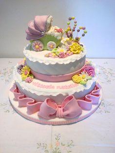 battesimo carrozzina due piani  le torte decorate di luciana