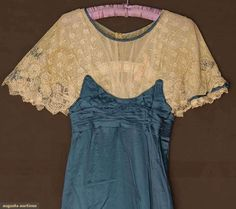 2 SILK EVENING DRESSES, 1908 & 1912. 1 c. 1912 colonial blue silk satin w/ lace bodice, some stains and 1 c1908 pale powder blue self stripe dress, lace yoke & floral embroidery w/ jewel centers. Detail